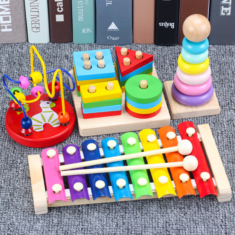 Educational Force GIRL'S Baby Infant Child Toy 0-1-2-3-Year-Old Boy Shape Slip-a Year Of Age Building Blocks Wooden Toys