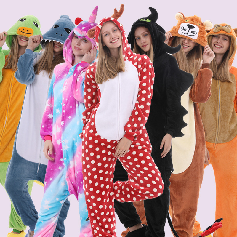 Hooded Pyjamas Warm Onsie Kingurumi Women Onesie Sleepwear Cosplay Stitch Pikachu Unicorn Nightwear Unisex Couple Flannel Pajama
