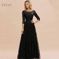 Elegant Black Lace A line Mother Of The Bride Dresses Modest O neck 3/4 Sleeves Wedding Party Dresses Vestido De Madrinha