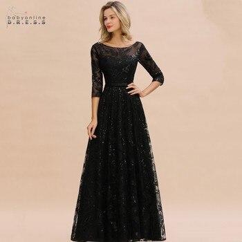 Elegante Schwarz Spitze A-linie Mutter Der Braut Kleider Modest Oansatz 3/4 Ärmeln Hochzeit Party Kleider Vestido De Madrinha