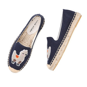 Image 2 - 2020 Real Zapatillas Mujer Platform Flat Fishermen 2019 Sapatos Lady Casual Rubber Outsole Off duty Days Flax Straw Thick Soled