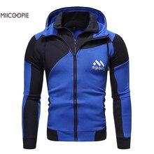 Miicoopie 2019 Mens Hoodies Fashion Patchwork Single Zipper Sport Print Pullover Hoodie Sweatshirt