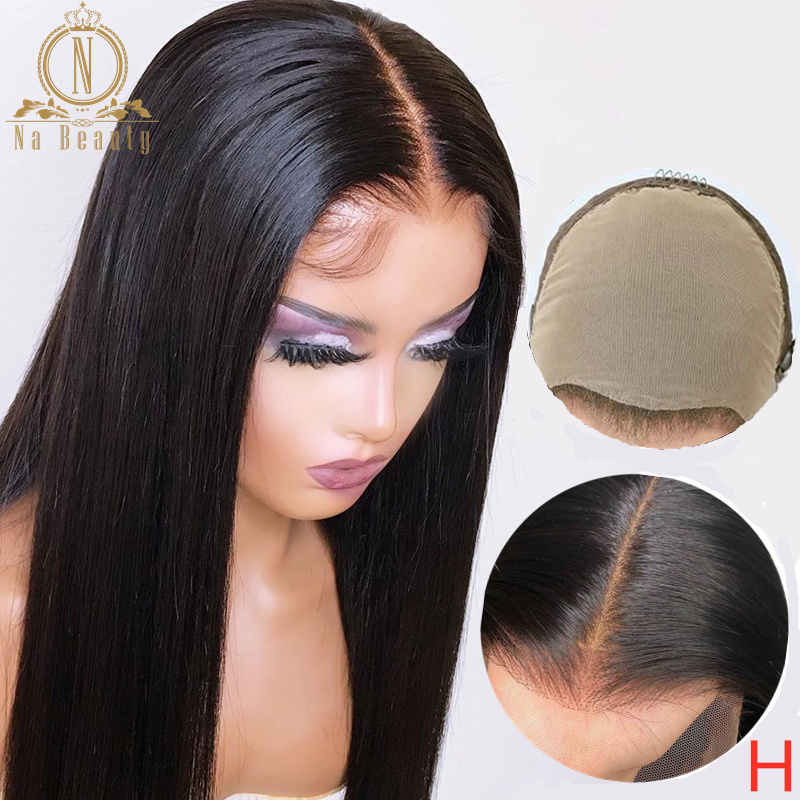 Fake Scalp Wig 13x6 Lace Front Invisible Knot Wig Bleached Knots Pre Plucked Straight Human Hair Lace Wig Remy Nabeauty 150%(China)