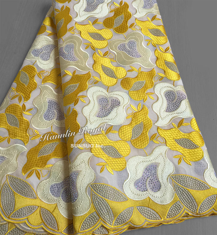 Soft yellow African lace voile fabric Swiss cotton lace has no holes can be used for