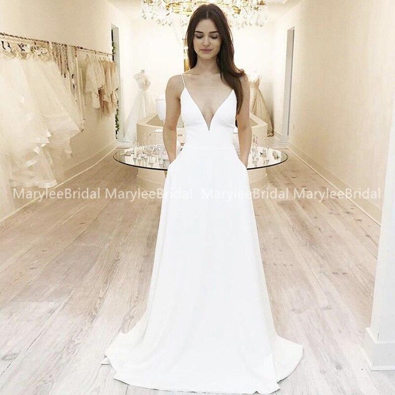 Simple Low V Neckline Beach Wedding Dress With Pockets Spaghetti Straps A-line Boho Bridal Dress Cheap Robe De Mariee Customize