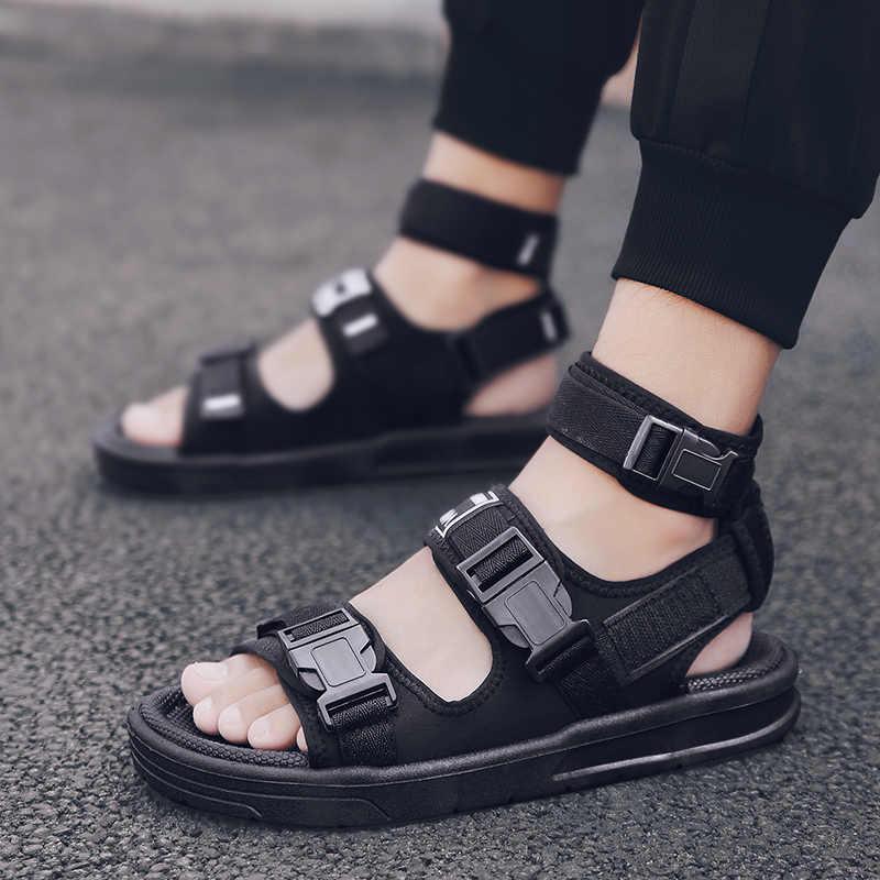 Mannen Sandalen Gladiator Strand Schoen Man Zwart Water Slippers Mode Platte Slippers Outdoor Sandalia Grote Maat 39-45