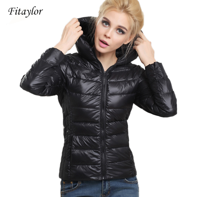 Fitaylor New 2020 Spring Autumn Ultra Thin Women Jacket Short Design Hooded Duck Down Coat Female Stand Collar Plus Size Parkas