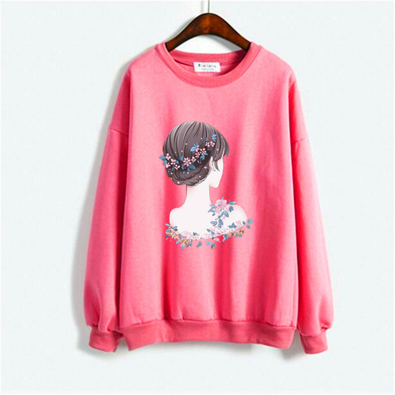 Cartoon Rabbit We Are Friends Print Girl Hoodie Woman Sweatshirt Autumn 2019 Winter Couple Women Hoodies Red Tops Womens Clothes 30