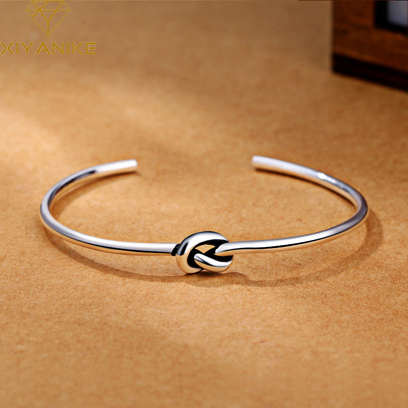 XIYANIKE 925 Sterling Silver Vintage Simple Knotted Opening Bracelets Bangles For Women Adjustable Fashion Wedding Jewelry