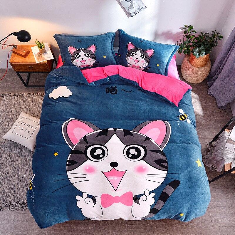 Winter Warm Large Version Of Positioning Cartoon Flannel Four-piece Set Crystal Velvet Quilt Cover Sheet Bedding Set