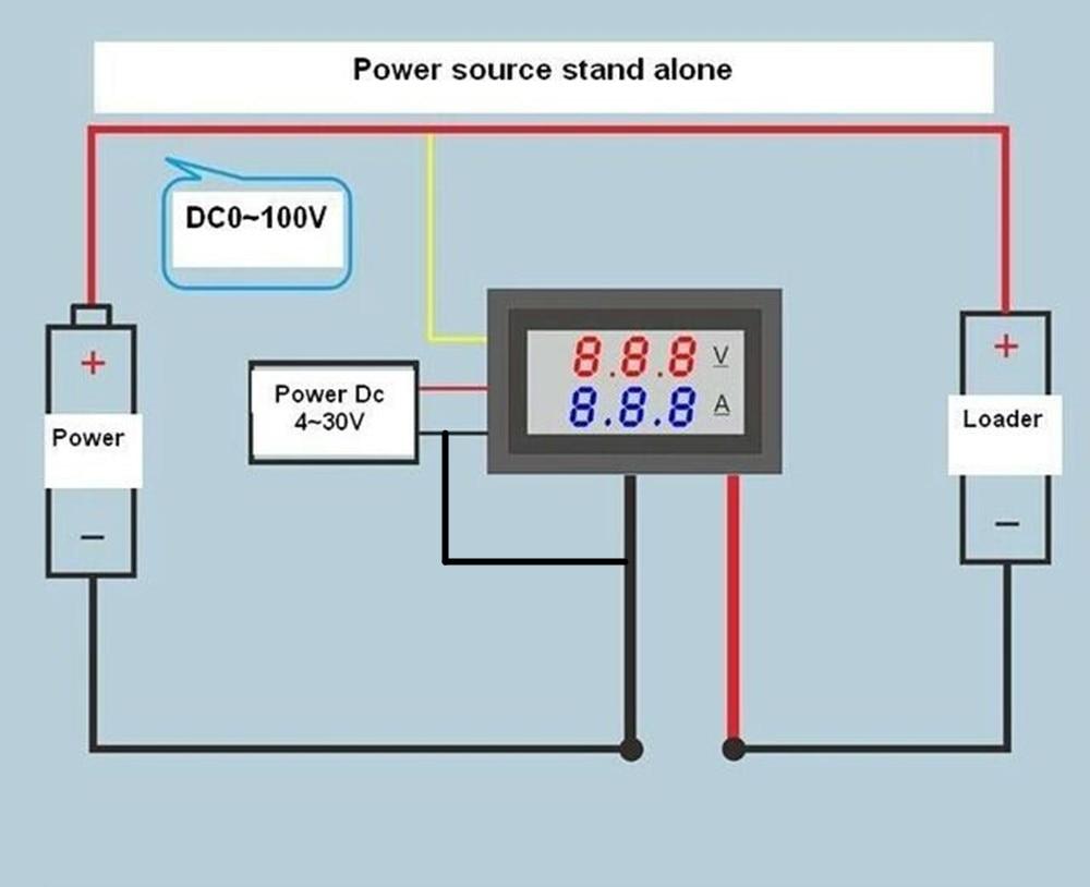 H04893c2c9ed84506bec28135b65cf22cv Mini Digital Voltmeter Ammeter DC 100V 10A Voltmeter Current Meter Tester Blue+Red Dual LED Display