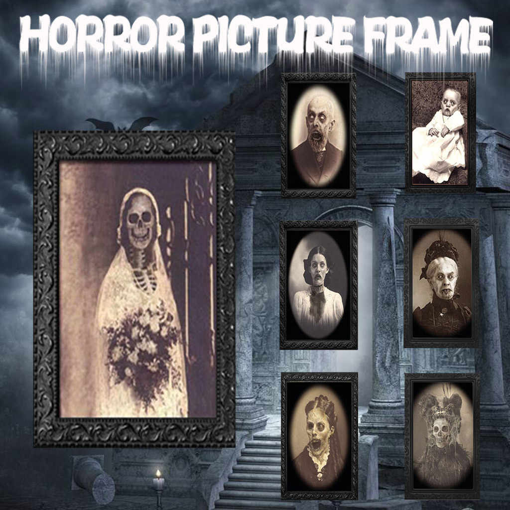 LHXHL Decorazioni Halloween Horror Picture Frame Lenticolare 3D Ghost Morphing Cambiamento in Motion Maschio Diavolo Fa Fronte Pittura Telaio Haunted Giocattolo House Party Props Bar 38 25Cm