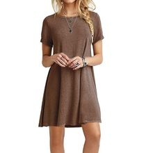 Womens Summer Plus Size Short Sleeves Midi Swing T-Shirt Dress Plain Solid Color Crew Neck Casual Loose Pullover Tunic Tops F3MD