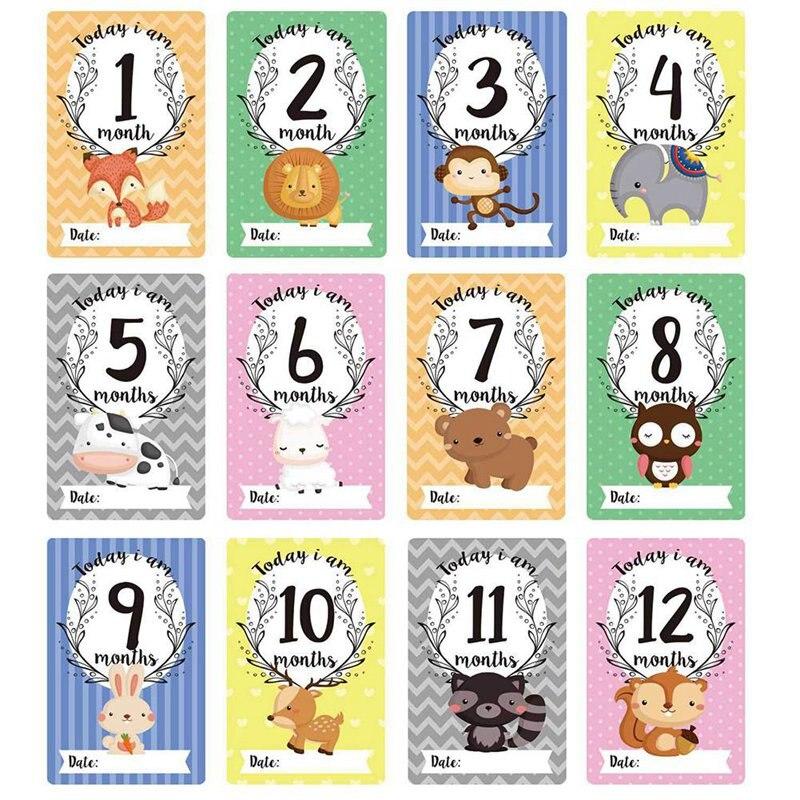Newborn Photo Baby Photo Cards 12 Sheet Milestone Photo Sharing Cards Gift Set Baby Age Cards - Baby Milestone Cards
