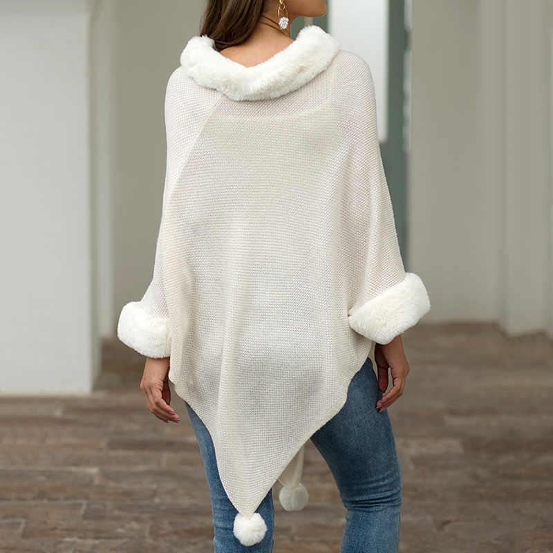Sonbahar kış kadın kazak sıcak kürk yaka kadın moda pelerin şal saç topu ile pançolar ve pelerinler yuvarlak boyun örgü kazak