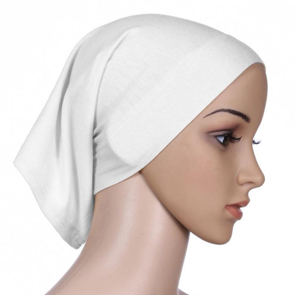 Мусульманский женский шарф Национальный Рамадан аксессуары для волос тюрбан декоративная хлопковая шапка шапочки под хиджаб Мода Защита от солнца пляж - Цвет: White