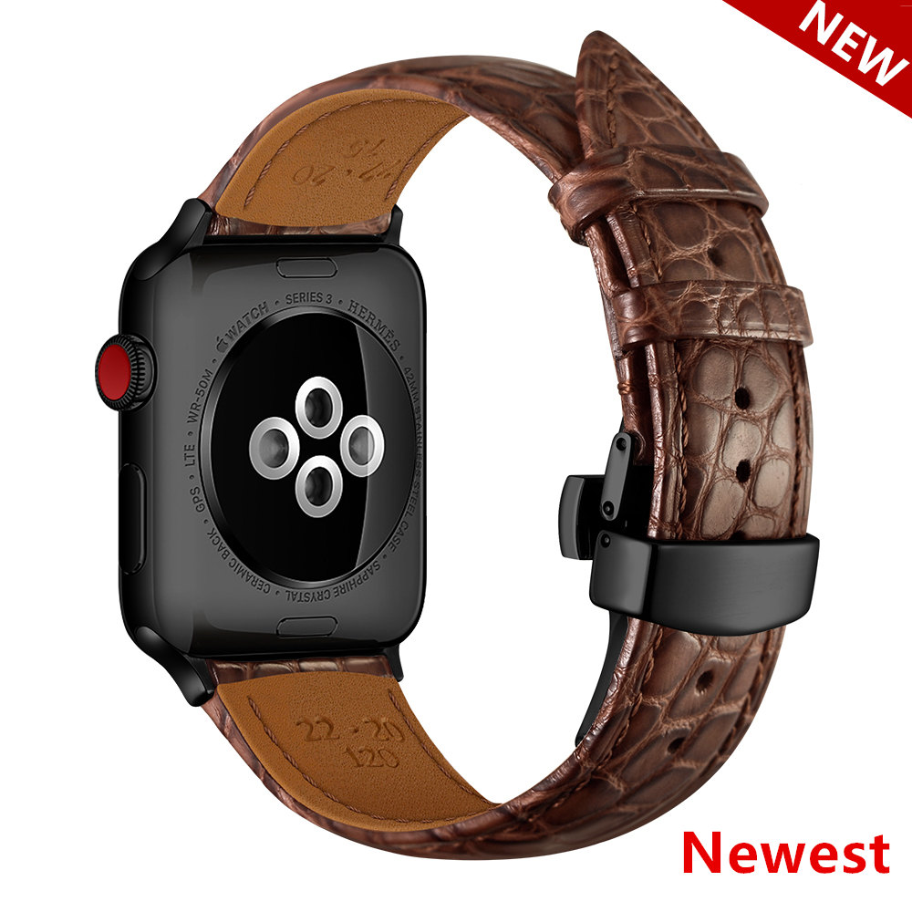France alligator leather strap for Apple watch 4 band 44mm 40mm iwatch band 42mm 38mm TOP Process bracelet Apple watch 3 21 5 44   Watchbands