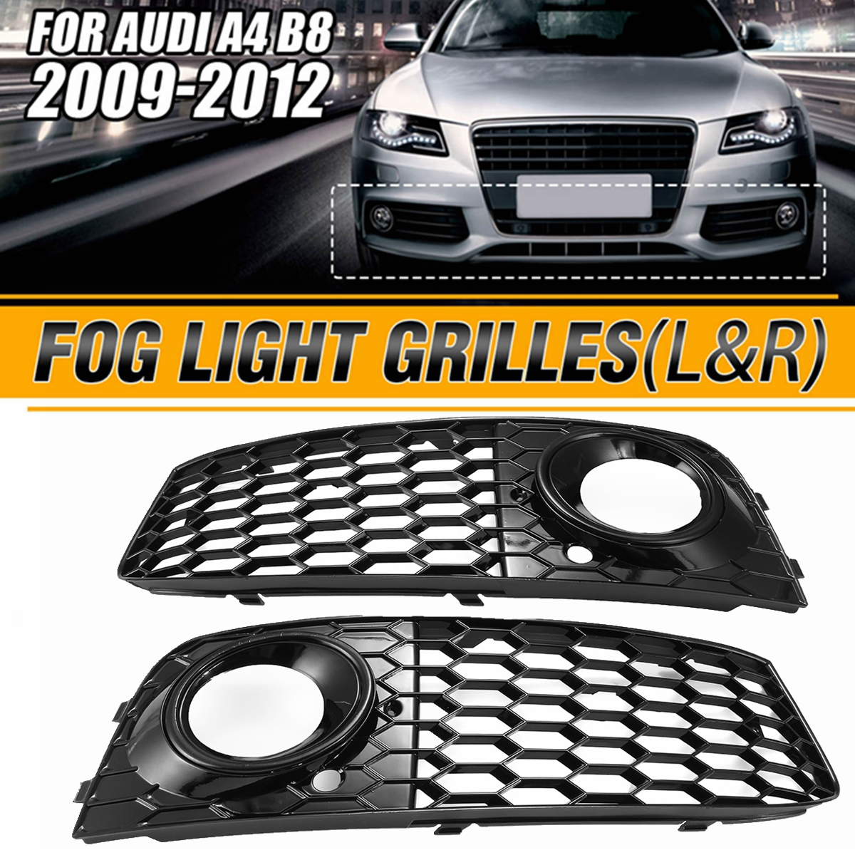 Left Right A4 B8 Fog Light cover Grille For Audi A4 B8 2009 2012 RS4 Style