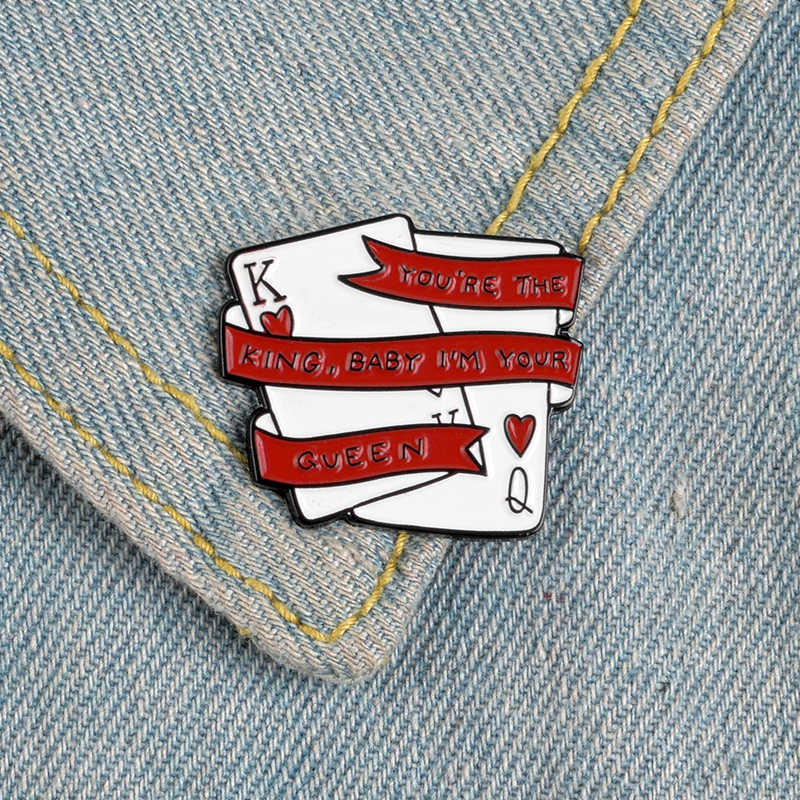Tema Cinta Pin Merah Patah Hati Balon Botol Apa Pacar? Esc Pernikahan Kartu Poker Pasangan Bros Enamel Kerah Pin Hadiah