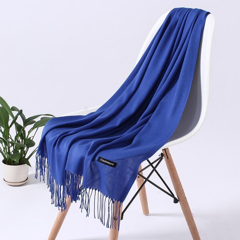 Однотонный кашемировый шарф для женщин новые длинные мягкие шали и палантины пашмины модные хиджаб с кисточками женские шейные шарфы - Цвет: 110g blue