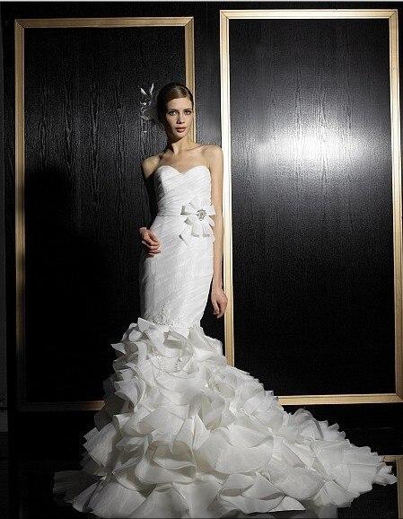 Free Shipping New Design 2016 Elegant Plus Size Handmade Organza Sweetheat  Mermaid Lace Wedding Dresses Bridal Belt Gowns
