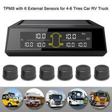 цена на Car Tire Pressure Alarm Monitor System W/ 6 External Sensors Wireless Solar Power Digital LCD Display For Car Security Alarm Sys