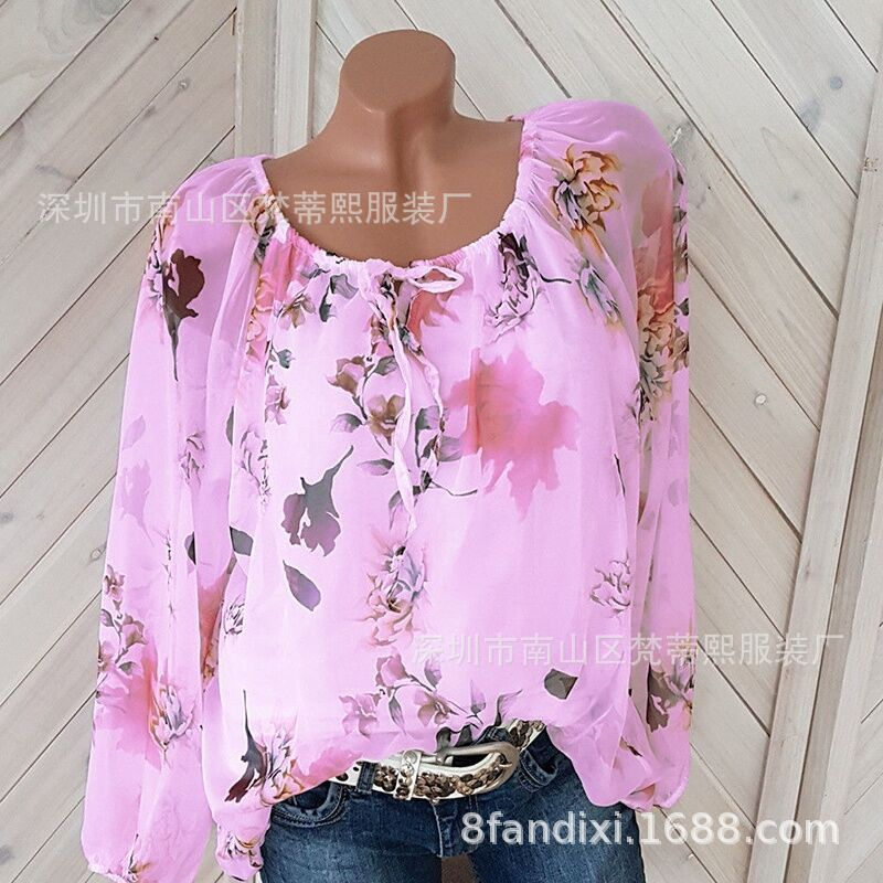 Large size women's new blouse loose women's shirt with a collar collar printing long-sleeved