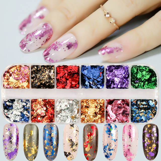 12 colors/set Aluminum Irregular Holographic Glitter Powder Nail Colorful Flakes Manicure Nail Sequins Mirror Paillette Tips