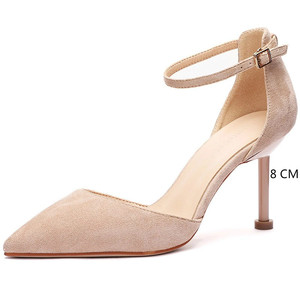 Image 5 - 2020 Shoes Woman Flock Ankle Straps 6/8cm Thin High Heels Women Faux Suede Cover Heeled Elegant Sexy Point Toe Sandals Pumps New
