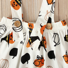 Kids Baby Girls Clothes Set Halloween Pumpkin Plaid Outfit