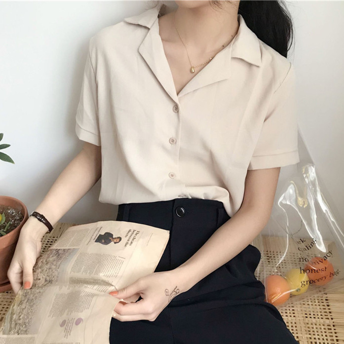Casual Solid Female Shirts Outwear Tops 2020 summer short sleeve  Women Chiffon Blouse Office Lady V-neck Button Loose Clothing 8