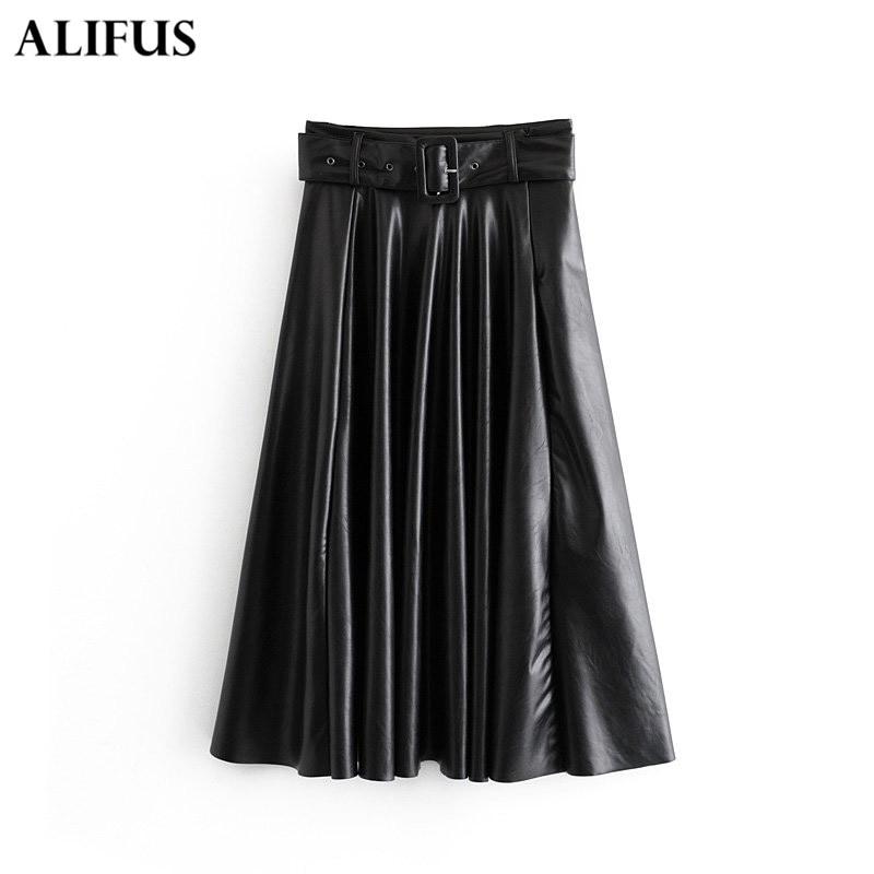 Fashion Za 2019 Women Vintage Chic High Waist Leather A Line Pleated Black Female Basic Casual Officewear Midi Skirts