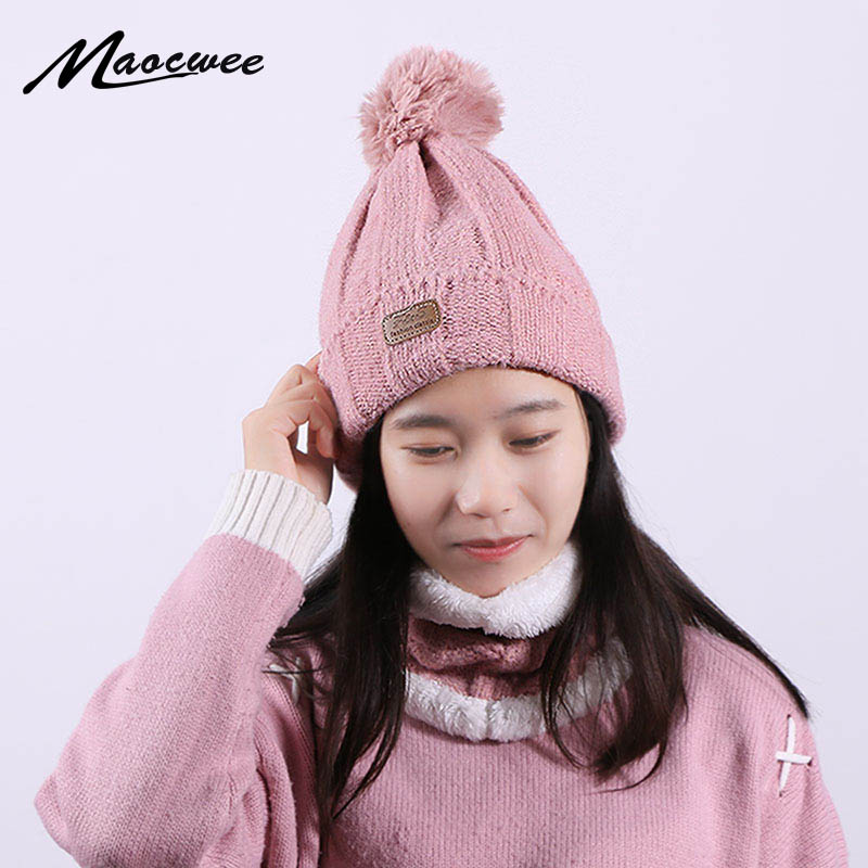 Winter Knitted Pompon Beanie Hat Neck Ring Scarf Set For Women Men Outdoor Warm Thick Soft Solid Color Hat Scarf Set For Female