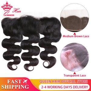 Image 1 - Kraliçe saç ürünleri vücut dalga şeffaf dantel Frontal kapatma 13x4 brezilyalı bakire saç doğal renk % 100% İnsan saç