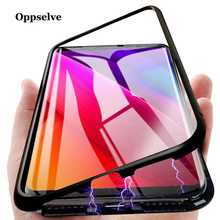 Magnetic Adsorption Phone Case For iPhone 11 Pro Max XR XS X 8 7 6S Plus Ultra Metal Magnet Absorption Back Glass Flip Cover