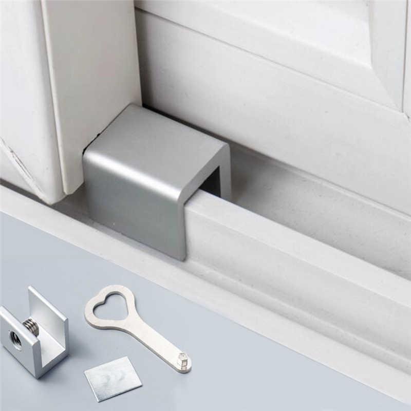 2019 ประตูหน้าต่างล็อคกุญแจหยุดอลูมิเนียมอัลลอยด์กรอบล็อคล็อคความปลอดภัยคีย์ Key LOCK Dropshipping