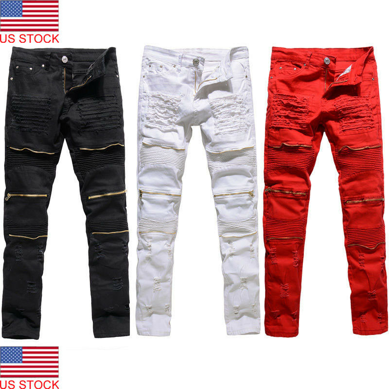 2019 New Arrival Men Boy's Skinny Runway Straight Zipper Denim Pants Destroyed Ripped Solid Jeans