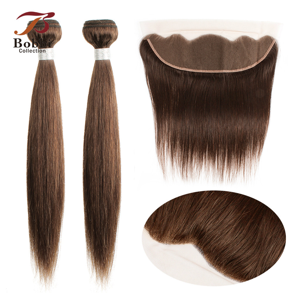 BOBBI COLLECTION Color 2 Darkest Brown Straight Hair 2/3 Bundles With 4x13 Lace Frontal Indian Non-Remy Human Hair Weave
