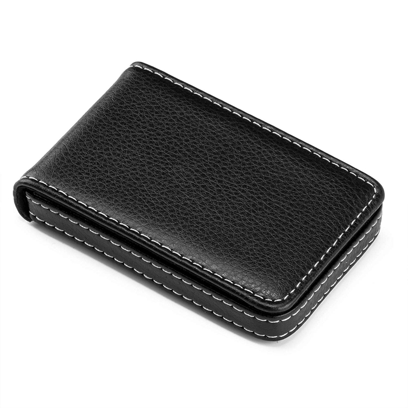 Business Card Holder Premium PU Leather Business Card Case Wallet Men's/Women's Pocket Business Name Card Holder With Magnetic S