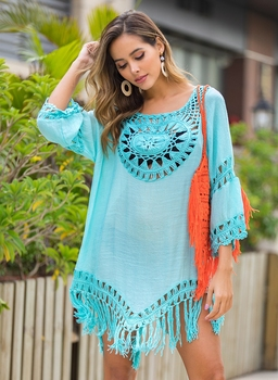 2020 Sexy Lace Hollow Crochet Beach Cover Up Women Bikini Cover Up Beach Dress Tunics Swimsuit Bathing Suits Cover-Up Beach wear 8