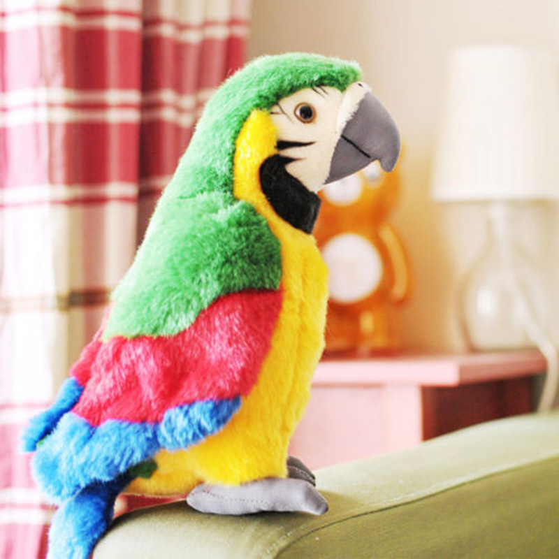 2020 New 26cm Speak Talking Record Cute Parrot Repeats Waving Wings Electric Plush Simulation Parrot Toy Macaw Toy Cute Kid Gift