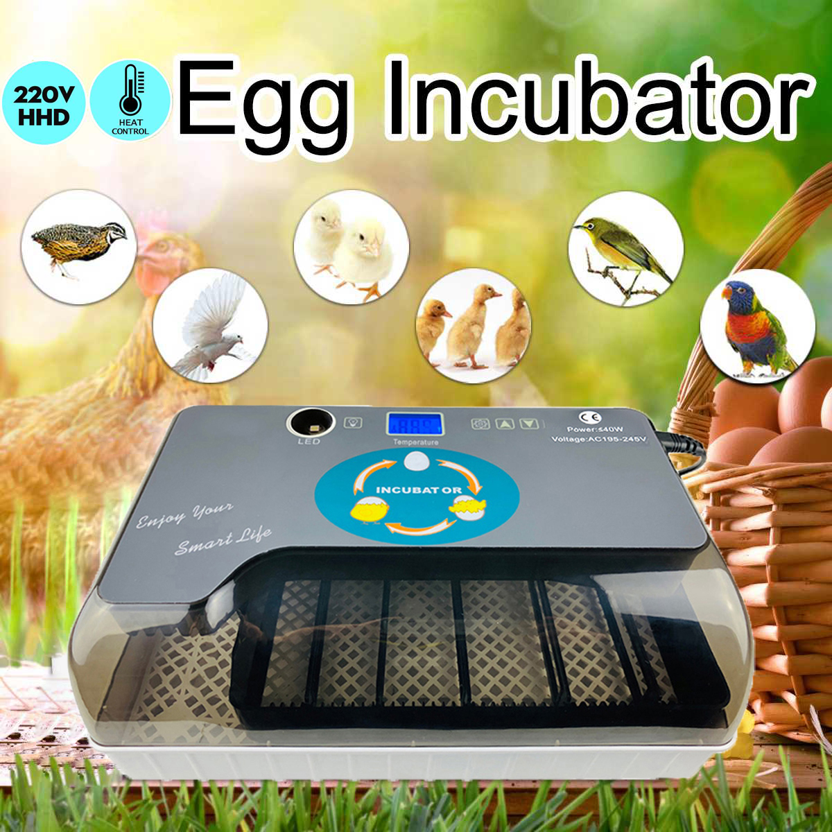 Newest Farm Hatchery Incubator Brooder Machine 12 Egg Hatchers Chicken Automatic Eggs Incubator Bird Quail Brooder