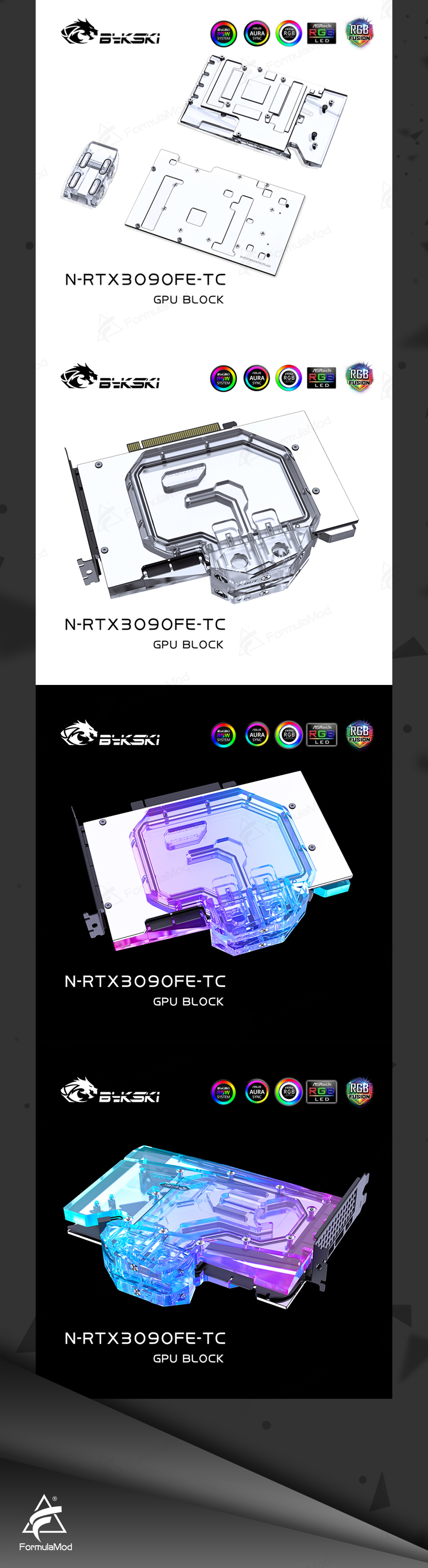 Bykski GPU Block With Active Waterway Backplane Cooler For Nvidia RTX 3090 Founder Edition N-RTX3090FE-TC