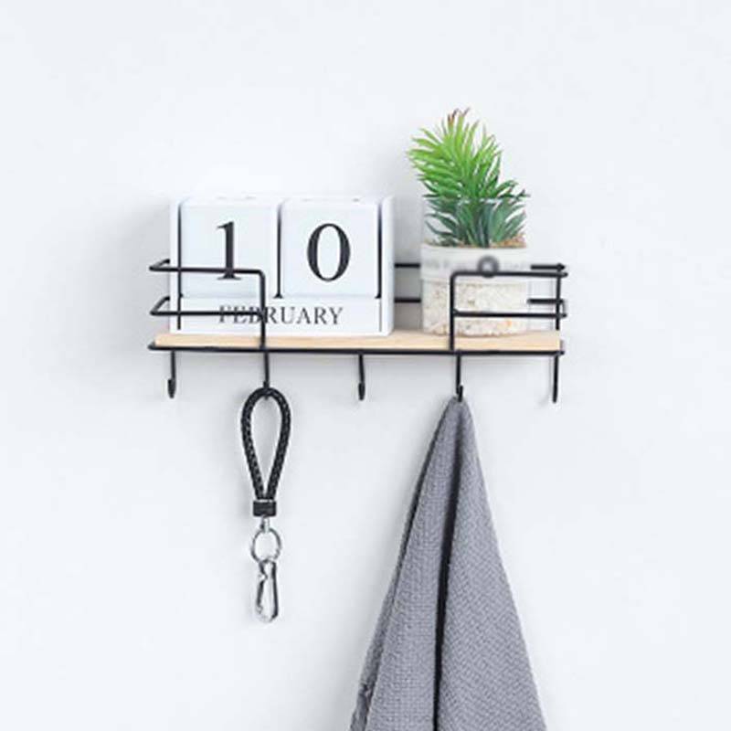 Iron Wood Storage Rack Key Keychain Hook Wall Hanging Basket Shelf Hanger Organizer Rack Towel Cloth Home Decoration Accessories