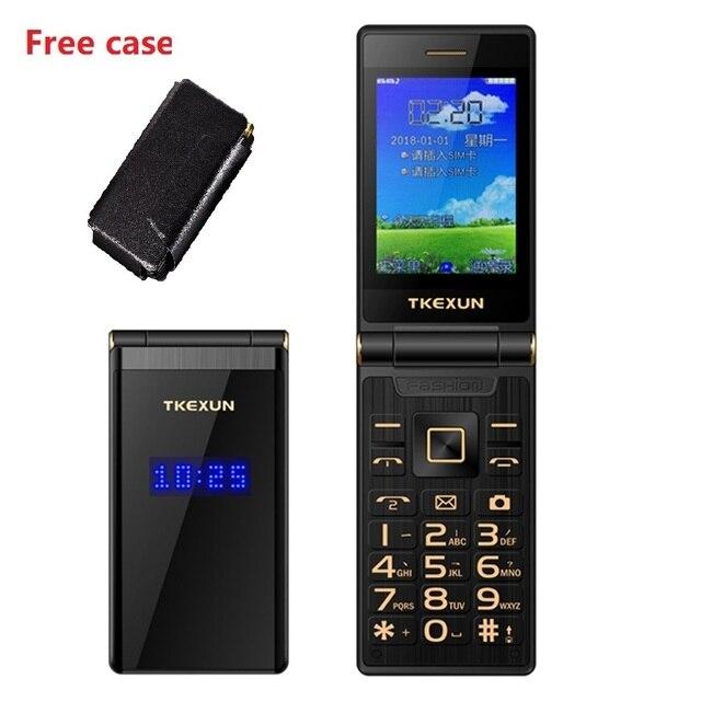"TKEXUN Flip מגע HandwritingScreen 3.0 ""תצוגת טלפון מהירות DialSOS מתכת גוף בכיר לא חכם טלפון סלולרי נייד"