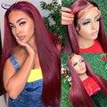99J бордовый прозрачный кружевной части парики бразильские прямые волосы 13x6x1 T кружева передние человеческие волосы парики предварительно ...