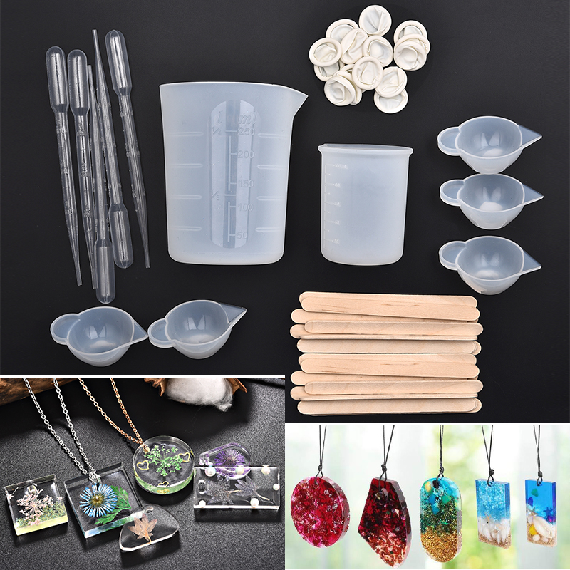62pcs Silicone Molds Resin Casting Molds Tools Set Dropper Wood Sticks 100/250ML Epoxy Measure Cups For DIY Jewelry Craft Making