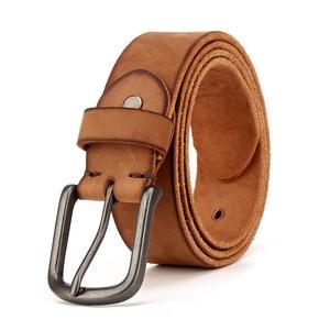 Image 3 - Top Cow genuine leather belts for men jeans Do old rusty black buckle retro vintage mens male cowboy belt ceinture homme