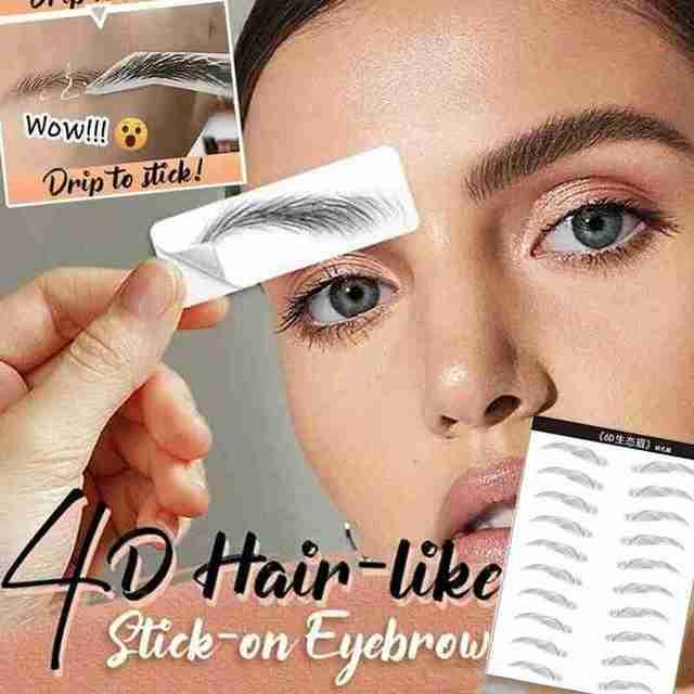 4D Hair-like Eyebrow Tattoo Sticker False Eyebrows Water-based Eye Brow Stickers Eye Brow Patches Cosmetics Eyebrow Pads D,E,F 2