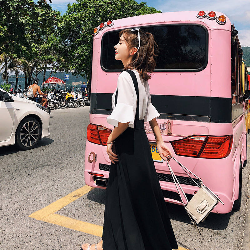 New Summer Women Two Piece Set Elegant Short Sleeve Shirts Female Black Strap Dress Work Wear 2 Pieces Women Suits LX1735